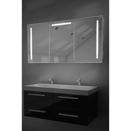 Cali Led Bathroom Mirror Cabinet With Demister Pad Sensor Shaver