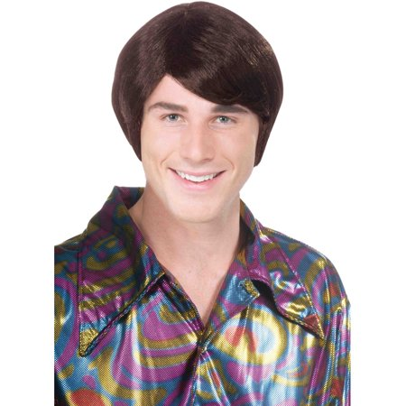Adult Mens Brown 70s Guy Costume Shag Disco Wig