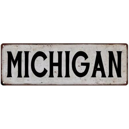 MICHIGAN Vintage Look Rustic Metal City State Sign 6 x 18 High Gloss Metal - Michigan Metal