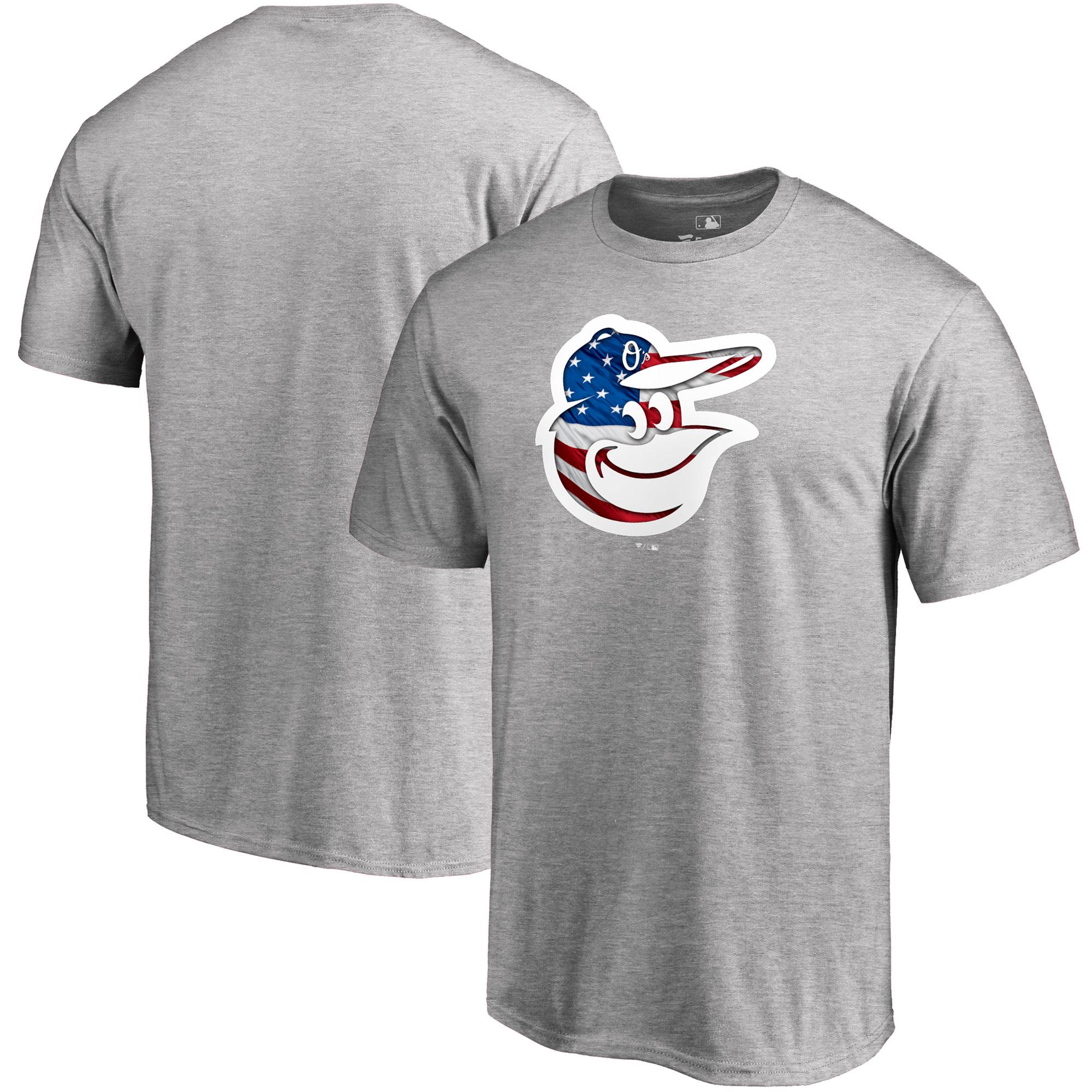 Baltimore Orioles Fanatics Branded 2018 Stars & Stripes Banner Wave Logo T-Shirt - Heather Gray
