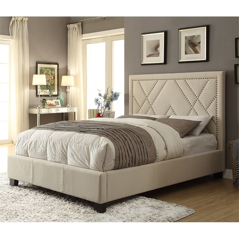 Modus Geneva Upholstered Full Platform Storage Bed in Powder by
