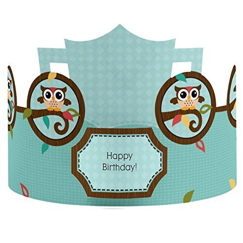 Owl - Crown Happy Birthday Party Hats - 8 Count
