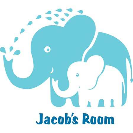 Personalized Name Vinyl Decal Sticker Custom Initial Wall Art Personalization Decor Childrens Boy Bedroom Baby Nursery Room Elephants 12 Inches X 12 Inches](Elephant Nursery Decor)