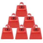 """3 Inch Metal Cowbells Set - Loud Metal Cowbell Noise Makers with Handle - Novelty 3"""" Metal Red Cowbells, Parties, Celebrations, Football Games, Sporting Events, New Year's Eve - Lot of 6."""