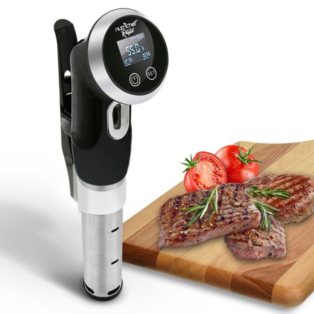 NutriChef Sous Vide Immersion Circulator Cooker Cooker-1000 Watt Stainless Steel Thermal Stick Chef Precision Cooking Machine with Digital Time/Temperature-Clips On Deep Container (Black) (PK0001)