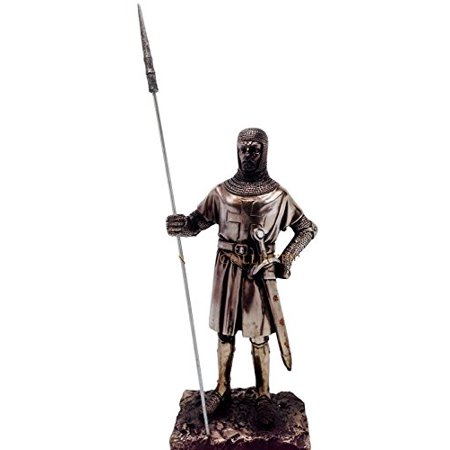 "MEDIEVAL KNIGHT 7""H CRUSADER PIKEMAN SENTRY STATUE FIGURINE SUIT OF ARMOR"