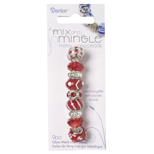 Mix and Mingle Glass Metal-lined Beads, Red/White