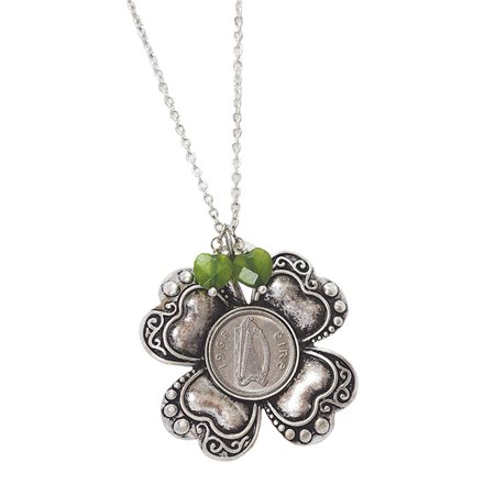 American Coin Treasures Irish Threepence Four Leaf Clover and Heart Charm Pendant
