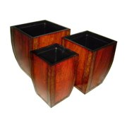 Cheung's FP-2487-3 Set Of 3 Wooden Curve/Tapered Square Planter