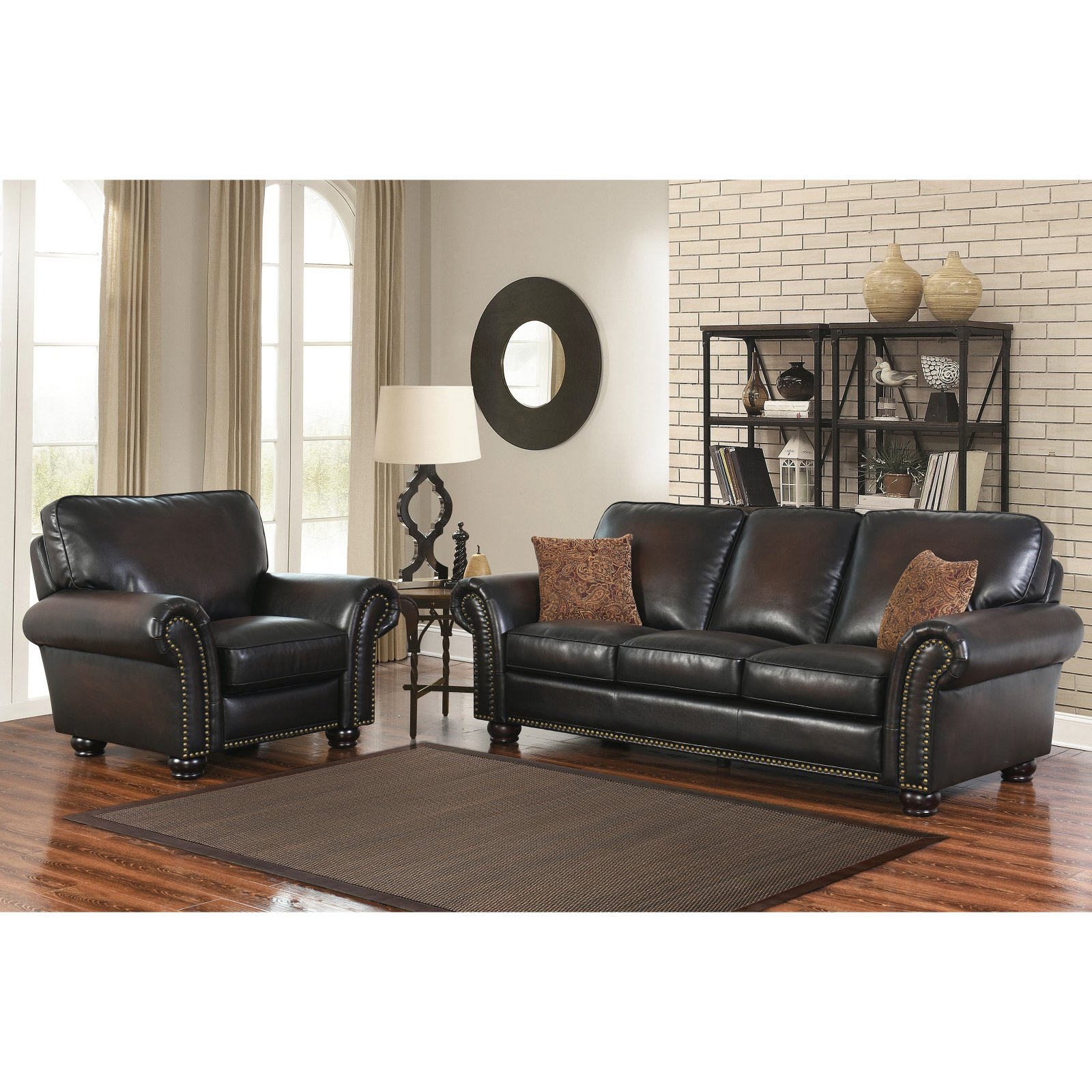 Abbyson Mac Hand Rubbed Leather Sofa And Armchair Set