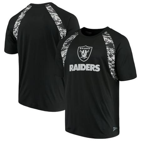 Men's Zubaz Black Oakland Raiders Camo Raglan T-Shirt