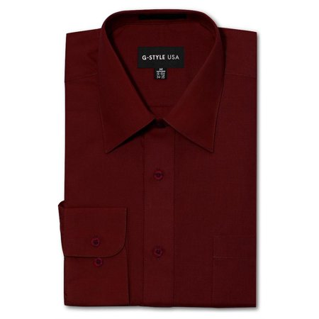 G-Style USA Men's Regular Fit Long Sleeve Solid Color Dress Shirts - BURGUNDY - X-Large - 34-35 These exceptional dress shirts by G-Style USA are of premium quality and durability. Dress it up with the classic button up dress shirt. Available in a multitude of colors so that you'll never have to worry about what to wear. Offered at very affordable prices, these shirts are made for people who want to look good for a casual or formal occasion! The shirts are machine washable, easy Iron, and breathable/stretchable.Please kindly note that the clothing tags for G-Style USA products may be labeled as Omega. Omega is the manufacturer of G-Style USA.