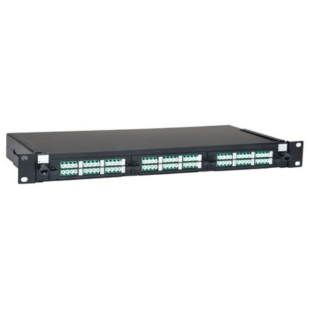 (36-Port LC/LC Rackmount Fiber Enclosure Feed Thru Patch Panel, Black 1U)