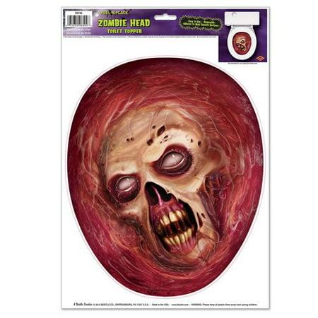 Halloween Toilet (The Beistle Company Halloween Zombie Head Peel 'N Place Toilet Seat)