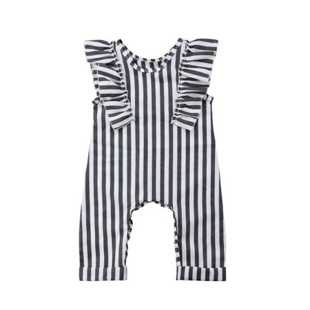 Cheap Price Toddler Kid Baby Girls Sleeveless Ruffles Striped Overall Jumpsuit Pants Clothes Baby & Toddler Clothing