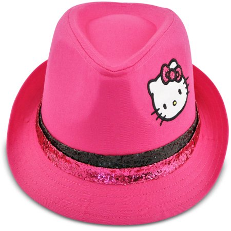 Sanrio Hello Kitty twill pink fedora with double band.