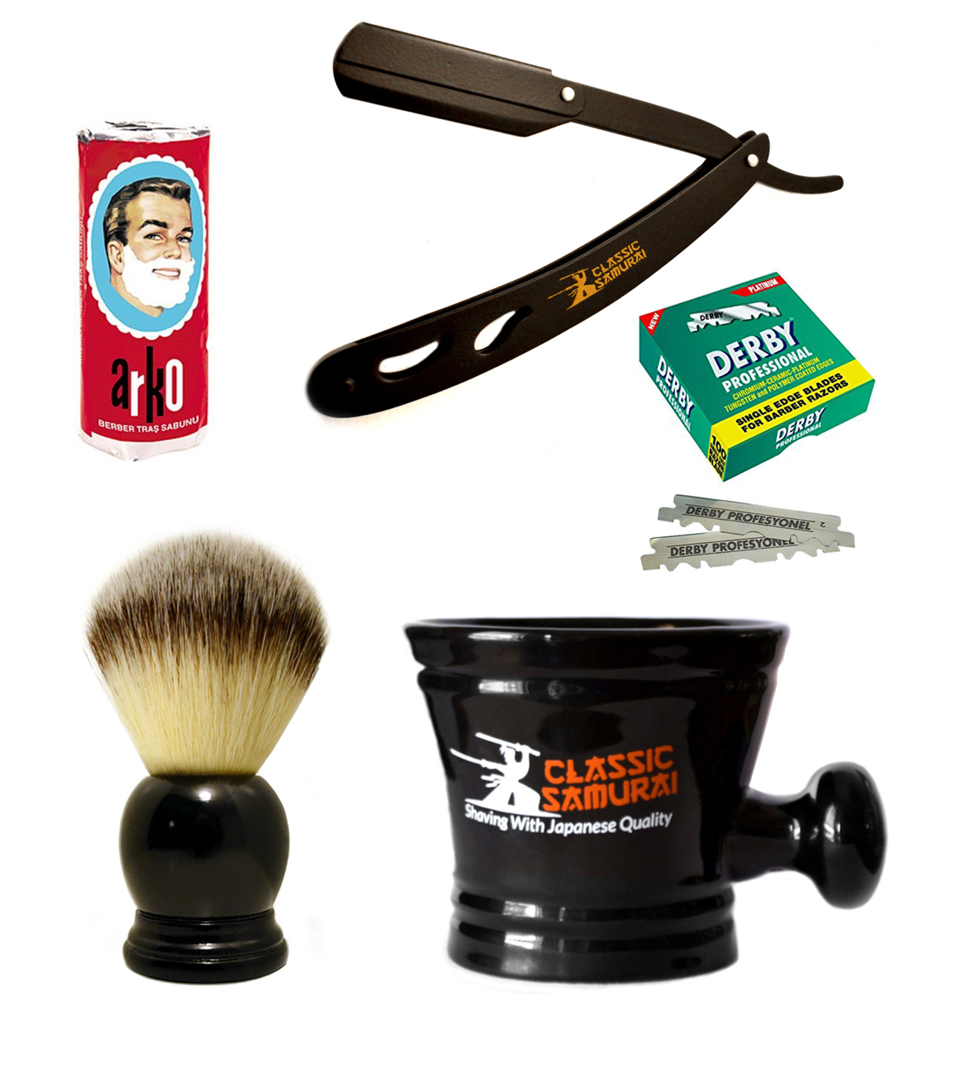 Classic Samurai Men's Shaving Set with Black Straight Razor Shavette, 100 Derby Blades, Brush, Arko Soap & Porcelain Mug