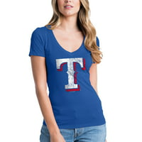 Texas Rangers New Era Women's V-Neck T-Shirt - Royal