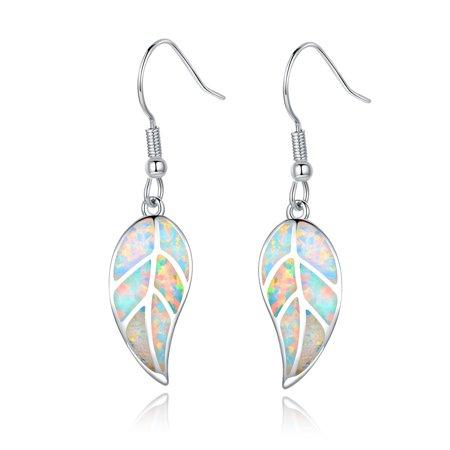 18K White Gold Plated Fire Opal Leaf Drop Earrings
