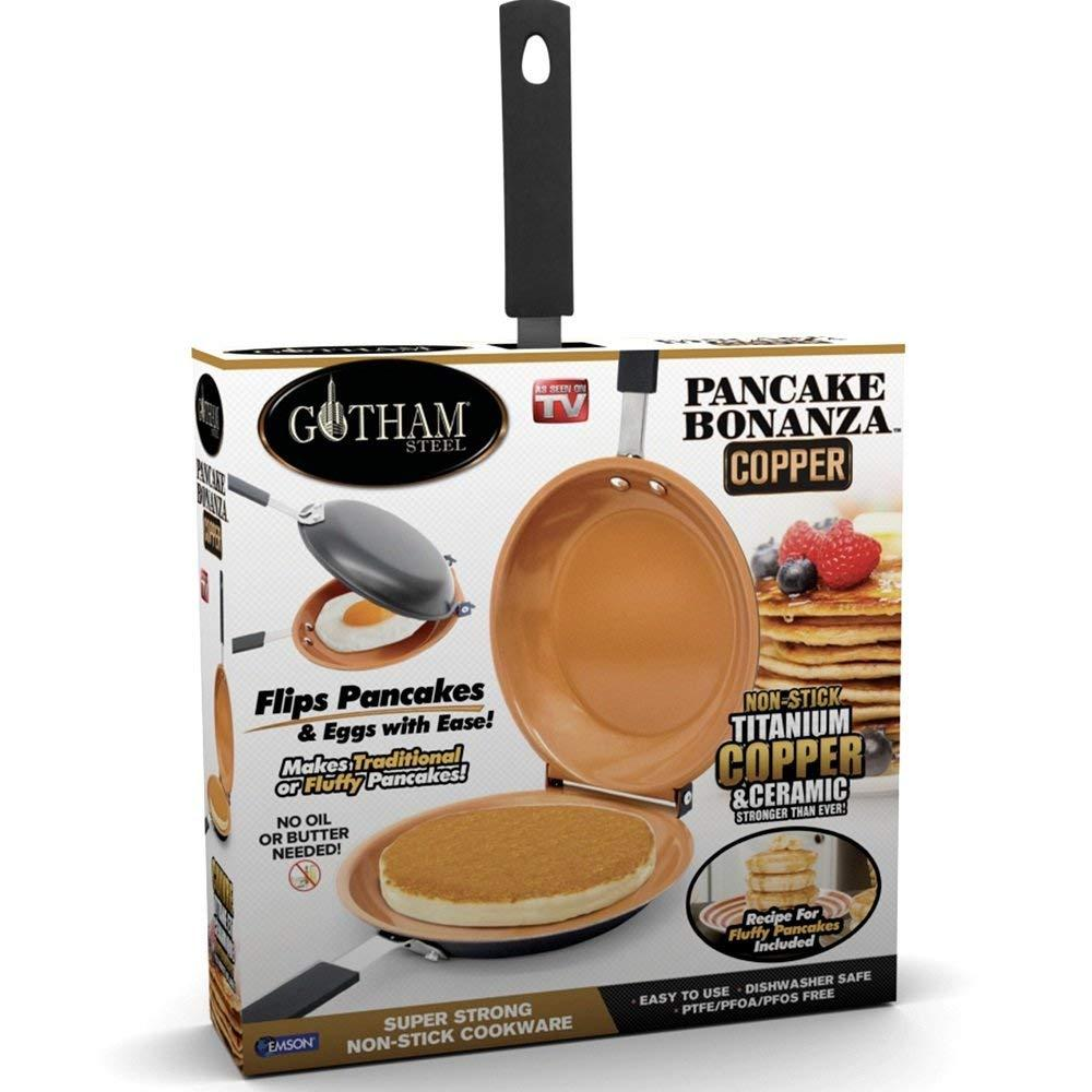Bonanza Nonstick Copper Double Pan – Easy Delicious Perfect Fluffy Pancakes Every Time with Absolutely No Clean Up, As Seen on TV, Large, Brown, No.., By GOTHAM STEEL