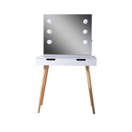 Organizedlife Vanity Table Dressing Desk with 2 Makeup Drawers Dressing Mirror With LED light - Adult Dressing Up