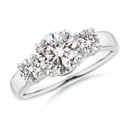 Diamond Ring Platinum Rings - April Birthstone Ring - Classic Diamond Three Stone Engagement Ring in Platinum (7.4mm Diamond) - SR0160D-PT-IJI1I2-7.4-7