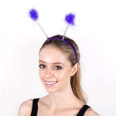Antenna Costume Feather Headband - Lilac Ladybug Robot Space Alien Accessories ()