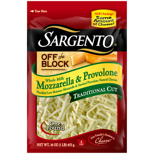 Sargento Off the Block Whole Milk Mozzarella & Provolone Traditional Cut Shredded Cheese, 16 oz