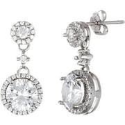 Lesa Michele Cubic Zirconia Sterling Silver Halo Earring Drops