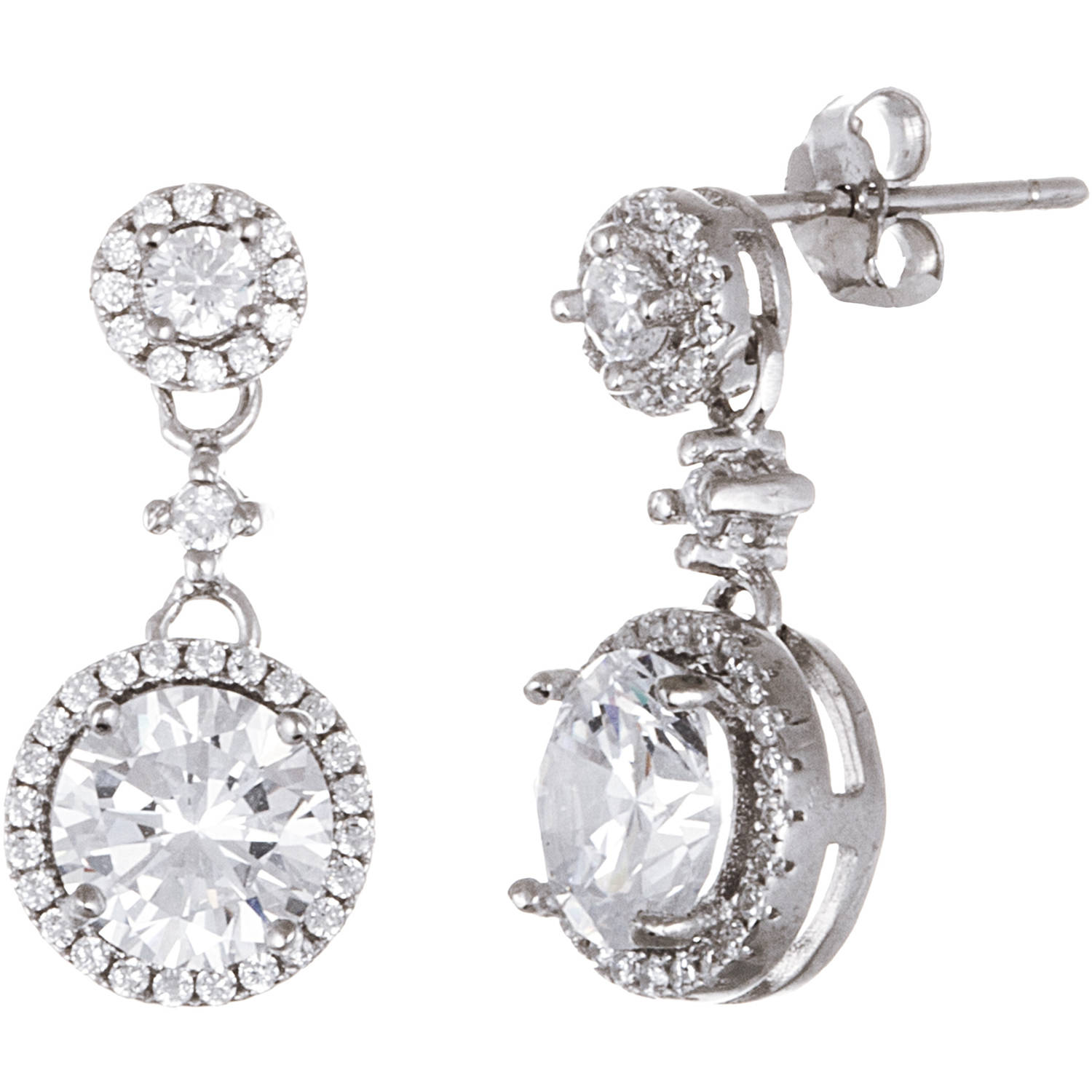 Lesa Michele Cubic Zirconia Sterling Silver Halo Earring Drops