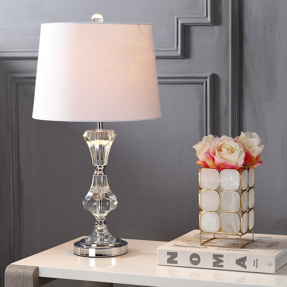 "Riley 25"" Crystal LED Table Lamp, Clear"