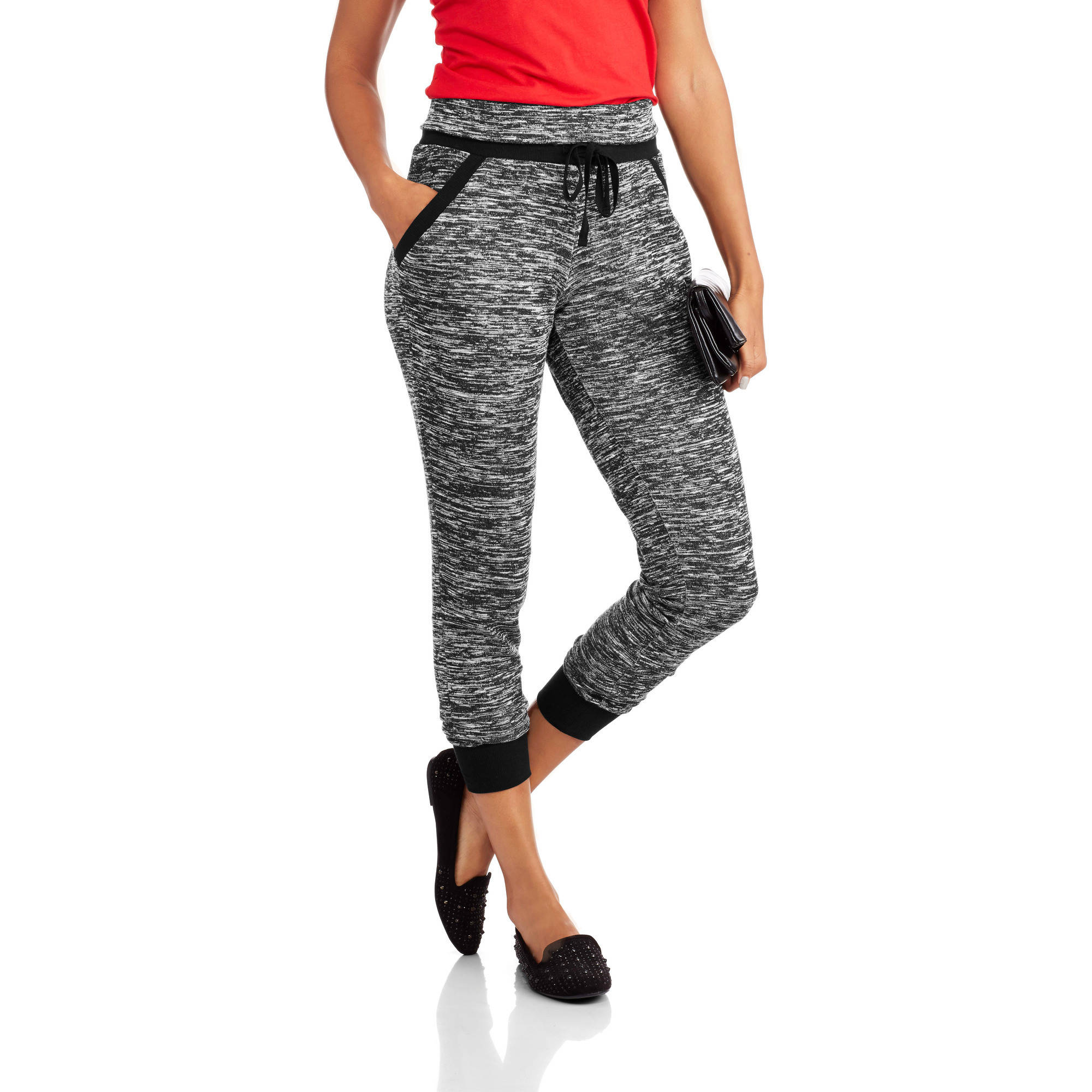 Almost Famous Juniors' Marled hacci Fold-Over Ribbed Jogger