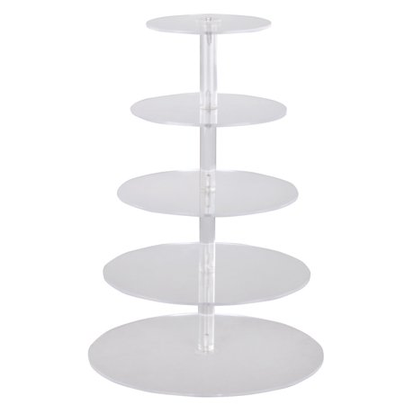 CALHOME 5 Tiers Crystal Clear Acrylic Round Cake Cupcake Stand Birthday Wedding Display