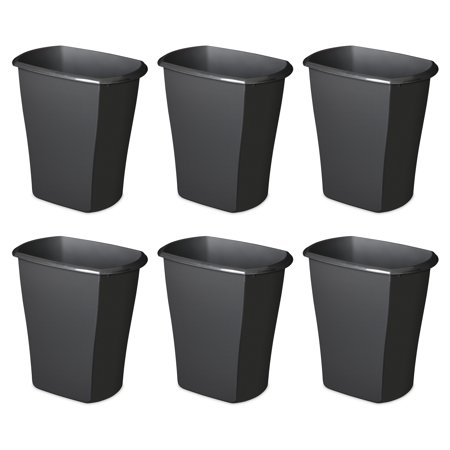 Champions Wastebasket (Sterilite, 3 Gal./11.4 L Rectangular Wastebasket, Black, Case of 6)
