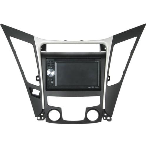 Scosche HY1625B - 2011-Up Hyundai Sonata, ISO Double DIN & DIN+Pocket Dash Kit; Black w/Silver trim, (STD. Climate control versions)