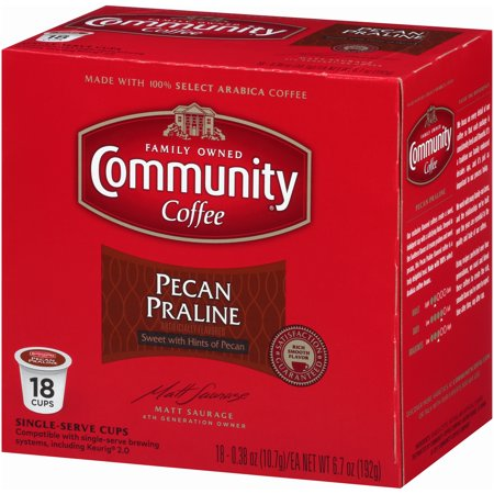 French Pralines (Community® Coffee Pecan Praline Coffee Single-Serve Cups 18 ct Box Compatible with Keurig 2.0 K-Cup Brewers )
