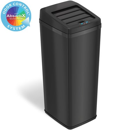 iTouchless 14 Gallon Matte Black Steel Sensor Trash Can with Retracting Lid