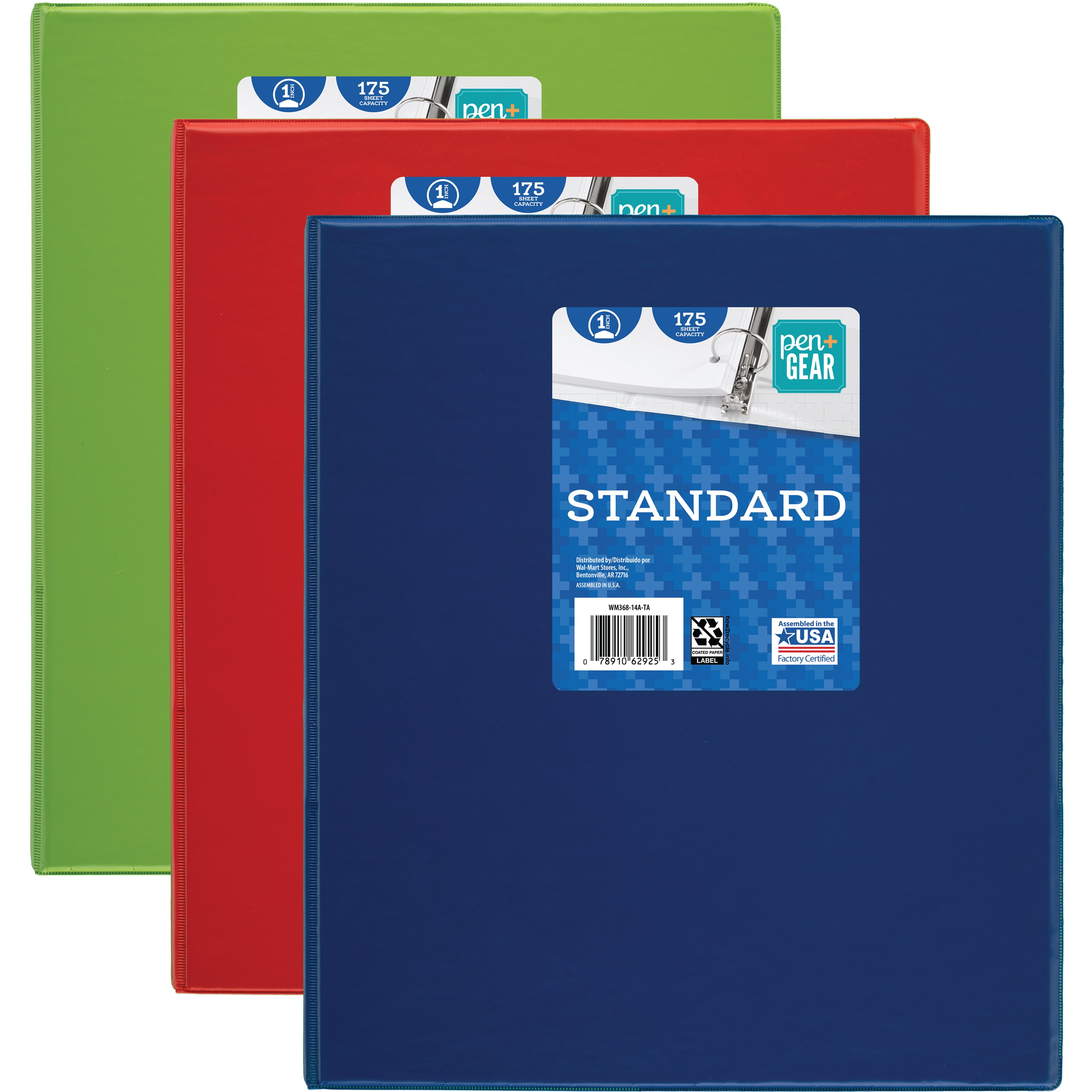 """Pen + Gear 368 Basic Round Ring Binder, 1"""", Assorted Colors (WMT3668-14A)"""