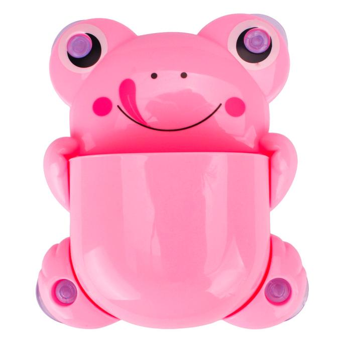 Mosunx Cute Cartoon Sucker Hook Toothbrush Holder Frog Bathroom Set PK