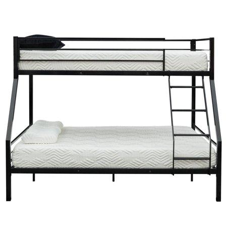 Ktaxon Twin Over Full Bunk Bed Kids Teens Bedroom Dorm Furniture Metal Beds Bunkbeds with Ladder Black