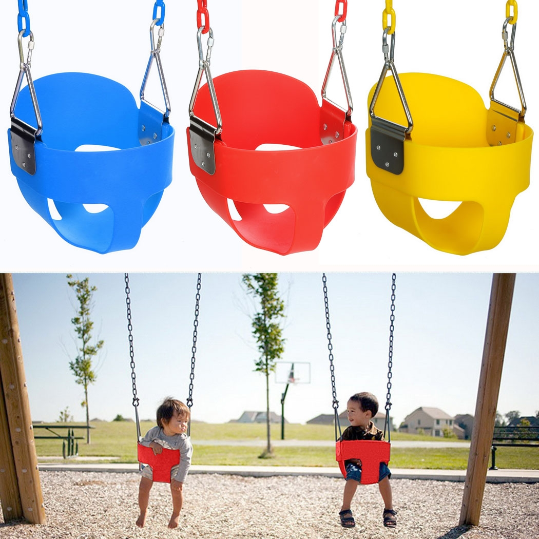 Ancheer High Full Bucket Swing With Coated Chain,Toddler Swingset Swining Seat Outdoor Kids Toys WH004617
