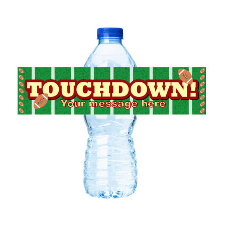 Touchdown Football   Party Decoration 15ct Water Bottle Labels Stickers](Water Bottle Label Size)