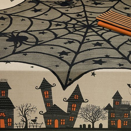 Halloween Spider Round Web Tablecloth Topper Covers Fireplace Table Party