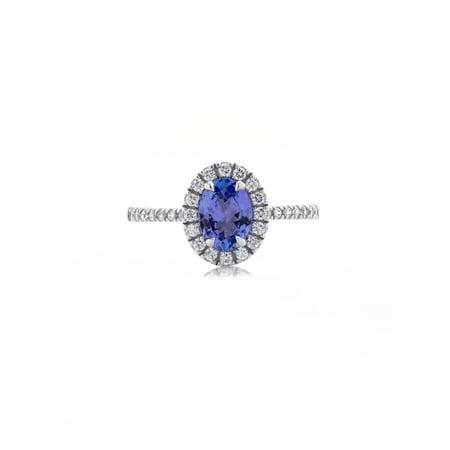 10K White Gold Brilliance Fine Jewelry Oval Treated Tanzanite & Cubic Zirconia Ring