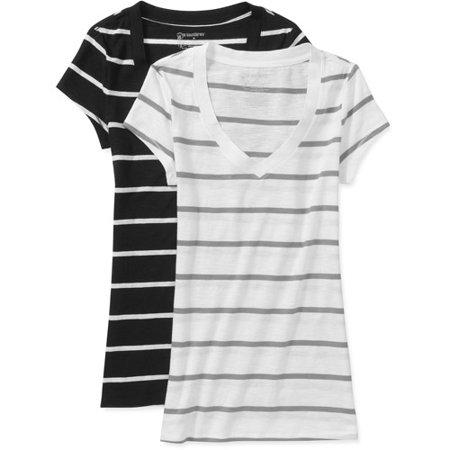 bec06c2695d7 No Boundaries - No Boundaries Juniors V Neck T-Shirt 2 Pack - Walmart.com