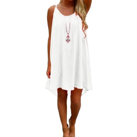 Oversized Sling Asymmetrical Hem Dress Sleeveless Sexy with Hollow out Design Casual Halter Mini (Asymmetrical Sleeveless Halter Dress)