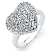 Oliveti Sterling Silver Cubic Zirconia Pave Heart Ring
