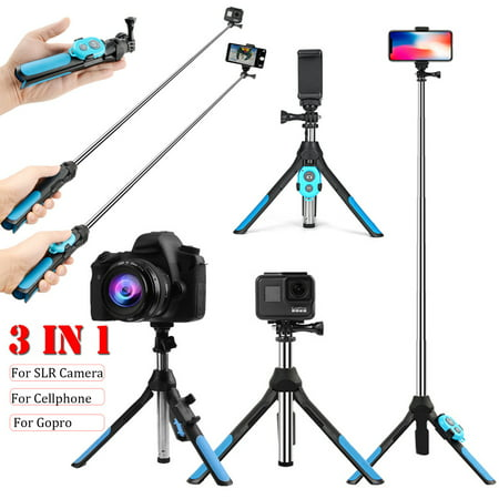 3-IN-1 360° Rotation Extendable Selfie Stick + Remote Control Shutter + Handheld Monopod Tripod for Go-Pro & Camera, for iPhone & Android Smart Mobile (Best Selfie Stick For Iphone And Android)