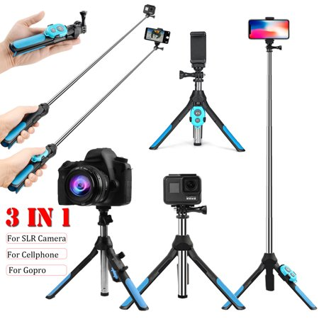 Portable Professional Camera Tripod, 360 Degree Camera Monopod Bluetooth Selfie Stick Tripod with Remote Control for Go-Pro & Camera, for iPhone & Android Smart Mobile Phone - image 3 of 10