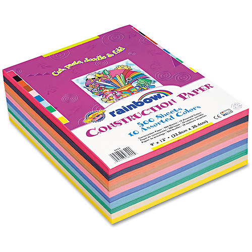 Pacon Rainbow Super Value Construction Paper Ream, 76-lb, 9 x 12, Assorted, 500 Sheets